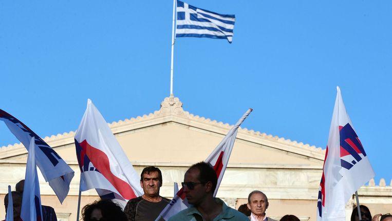 Protest tegen de onderhandelingen van de Griekse regering met het IMF. Beeld AFP