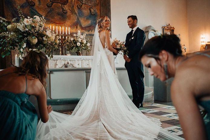 De bruidsjurk van Louis Talpes echtgenote Tiffany ontwierp Cilem samen met Nicky Vankets.