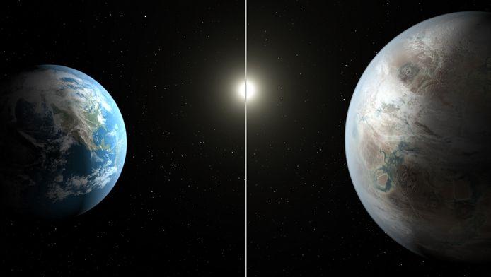 De Kepler-452b, hier rechts te zien, is in diameter ongeveer 60 procent groter dan de aarde. De foto boven is een artist impression van de NASA en verschilt waarschijnlijk van de werkelijkheid.