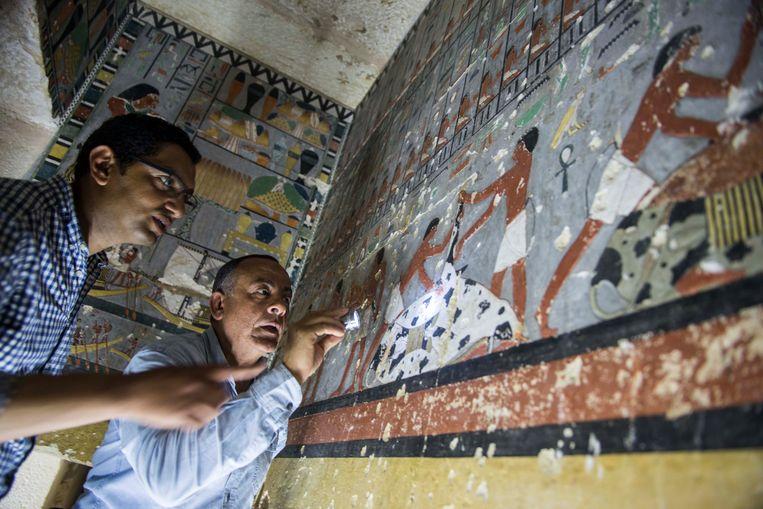 De muurschilderingen in het graf van Kuwhy in Saqqara leggen mogelijk geheimen bloot over de status van klasse van de edelmannen waartoe Kuwhy behoorde.  Beeld EPA