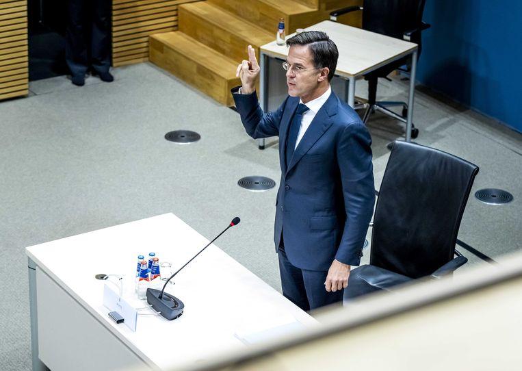 Mark Rutte wordt gehoord door de parlementaire enquêtecommissie Kinderopvangtoeslag. Beeld ANP