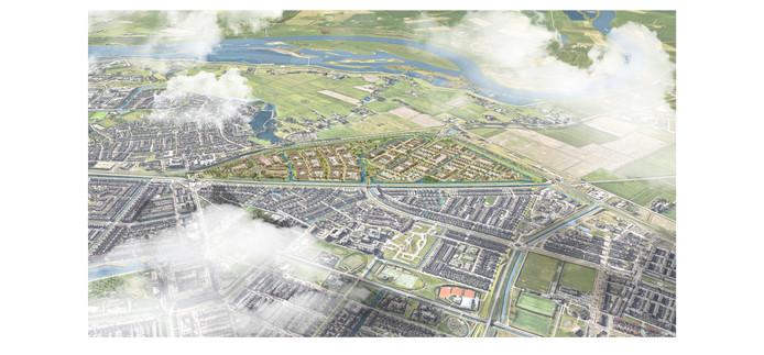 Zwolles nieuwste woonwijk De Tippe (het gekleurde deel) in vogelvlucht, gezien vanuit Stadshagen. Linksboven de wijk Westenholte.