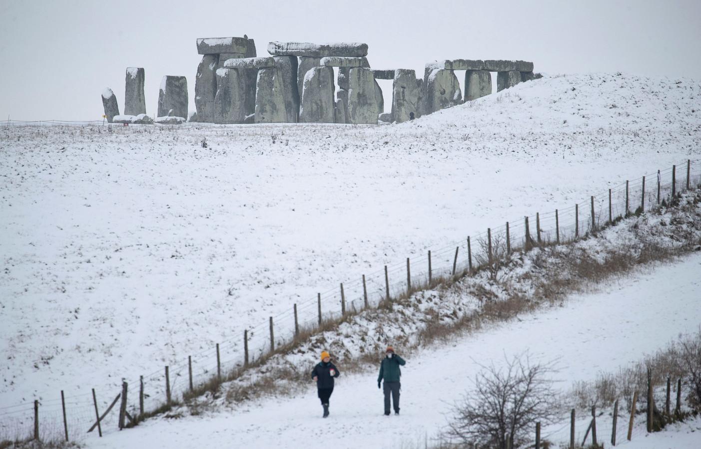 Ook Stonehenge raakte eind januari bedolven onder de sneeuw.