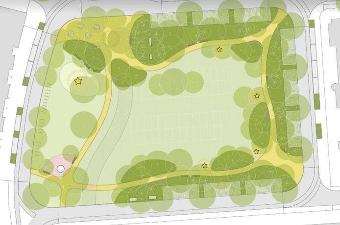 Het ontwerp zoals het afgelopen zomer aan de bewoners is voorgelegd. De groene kern is in het eindontwerp deels alsnog verhard ingetekend, zodat de activiteiten die nu al op het plein plaatsvinden ook in de toekomst daar kunnen blijven. De parkachtige omcirkeling van de kern is wel intact gebleven in het eindplan.