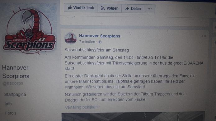 De Facebookpagina van Hannover Scorpions