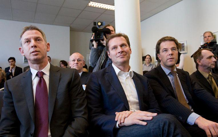 Archieffoto van Onno Hoes, Albert Verlinde en Mark Rutte. Beeld anp