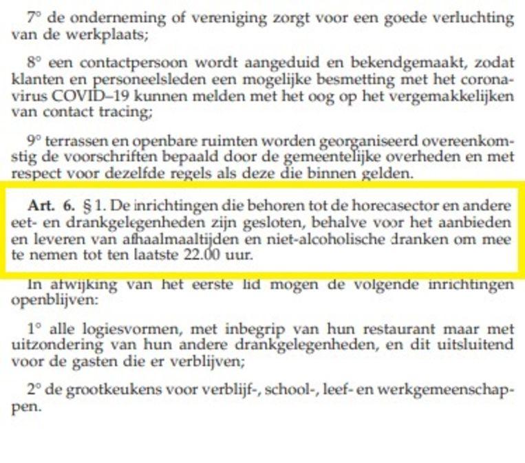 De bewuste passage in het ministerieel besluit van 18 oktober. Beeld RV