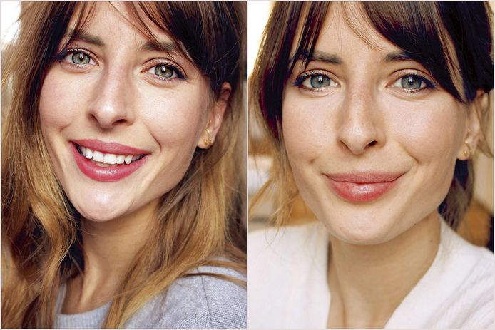Beautyredactrice Sophie Vereycken met een budget- en een luxemake-uplook.