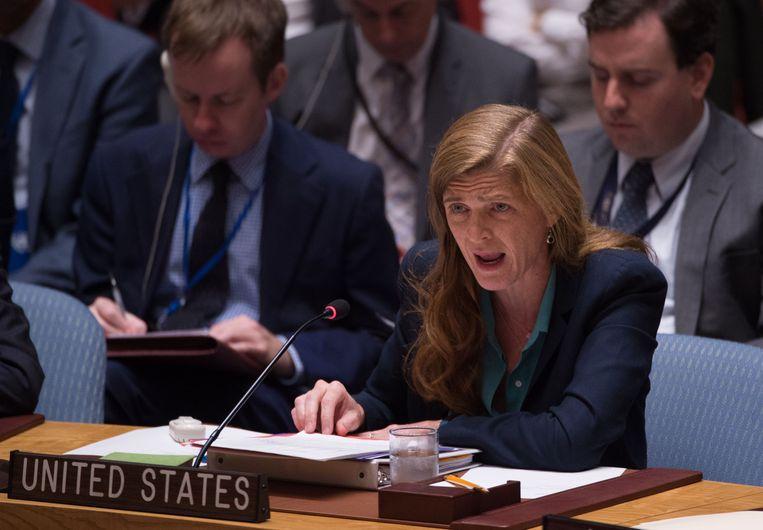 Samantha Power in de VN-Veiligheidsraad. Beeld AFP
