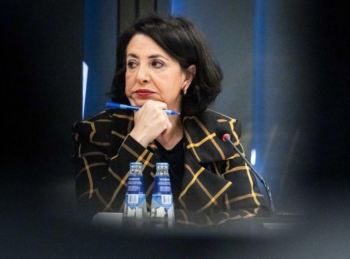 Tweede Kamervoorzitter Khadija Arib tijdens een gesprek over de verbouwing van de Tweede Kamer.