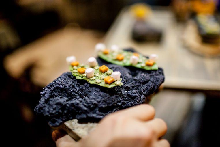 Een van de gerechten bij Central, het restaurant van Virgilio Martinez, de beste chef van Latijns-Amerika. De maaltijden verwijzen (deels) naar de verschillende landschappen van Peru.  Beeld Yvonne Brandwijk I Future Cities
