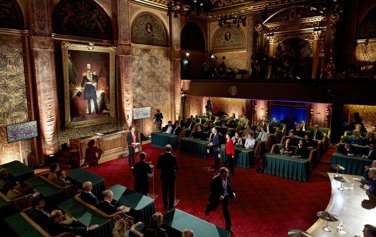 Lijsttrekkers voor de Eerste Kamer tijdens het tv-debat van Nieuwsuur, in aanloop naar de Provinciale Statenverkiezingen van 18 maart. Beeld anp