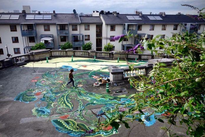 Kunstwerk Kiwi Wall Art aan het justitiepaleis in Brussel.