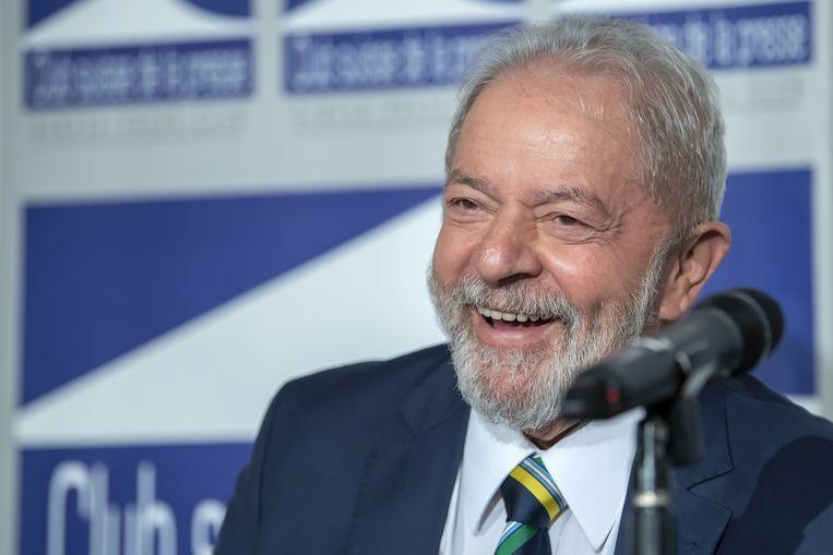 De voormalige Braziliaanse president Lula tijdens een toespraak vorige maand in het Zwitserse Genève. Beeld EPA