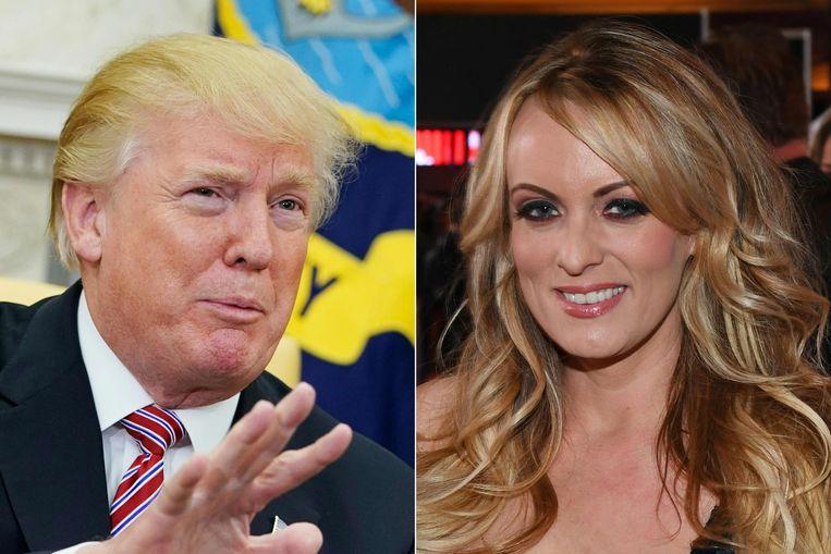 Amerikaans president Donald Trump en pornoactrice Stormy Daniels. Beeld AFP