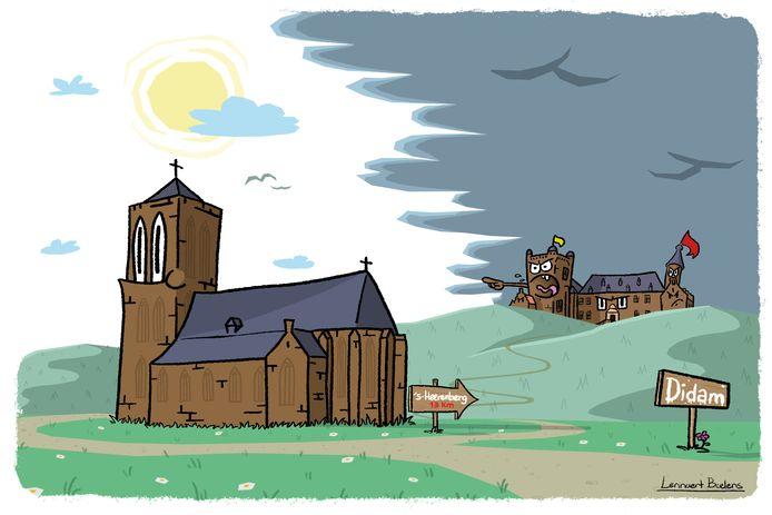Een cartoon over de strijd  vorig jaar tussen 's-Heerenberg en Didam over de plek van de raadszaal/ Beeld ter illustratie.