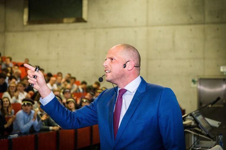 Theo Francken tijdens een lezing in Gent eerder deze week. Beeld James Arthur
