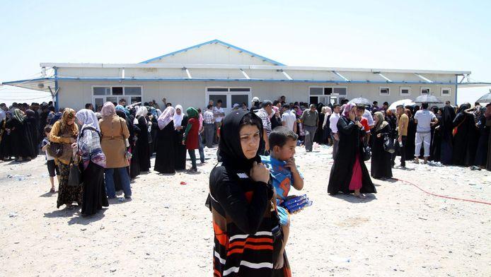 Gevluchte Irakezen uit Mosul in Erbil, Noord-Irak.