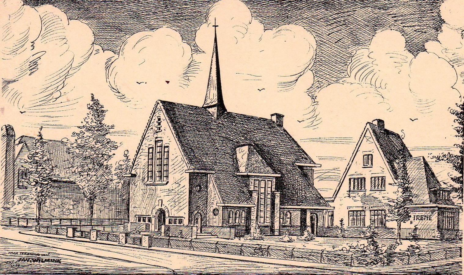 De Westerkerk, getekend door Jan Wilmink, gezien vanaf de hoek Dollardstraat/Lingestraat. De gereformeerde Westerkerk (nu gereformeerde kerk vrijgemaakt) werd gebouwd in 1939-1940.