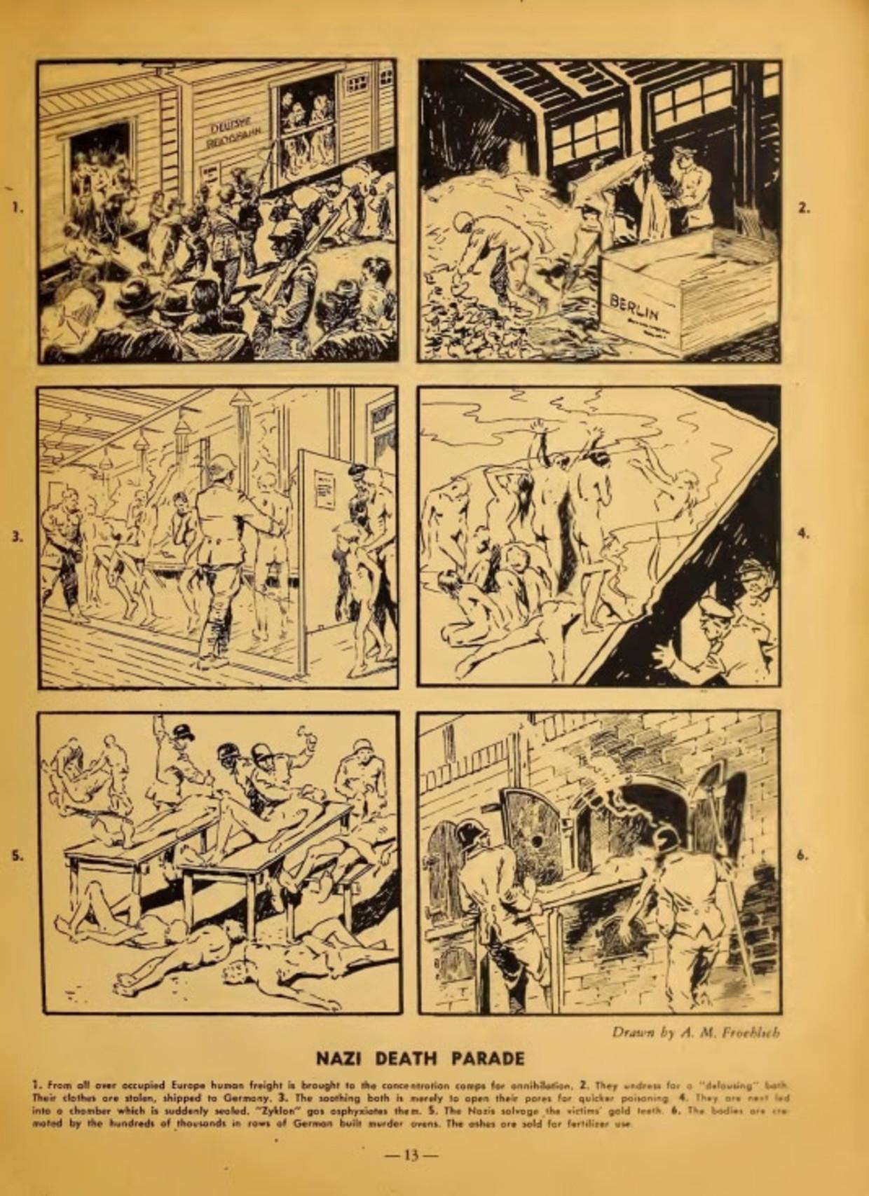 Holocaust strip uit 1944 van August M. Froehlich. Beeld