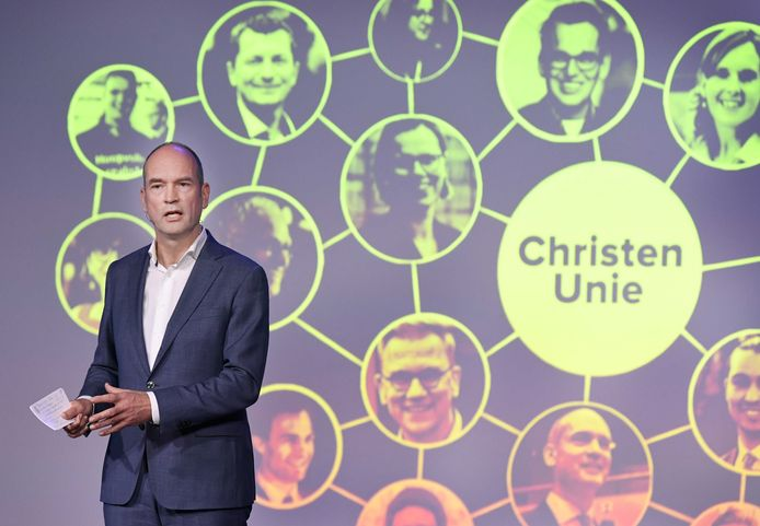 Gert-Jan Segers tijdens het digitale partijcongres van de ChristenUnie in november.