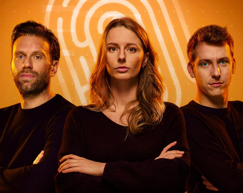 De finalisten van 'De mol': Sven, Annelotte en Lennart. Beeld Play4