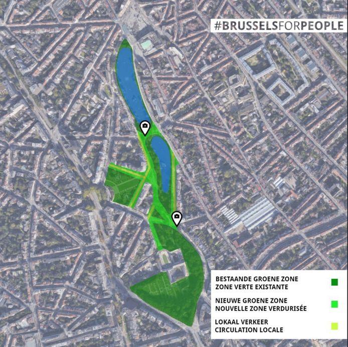 Ce nouvel axe vert relierait la place Flagey au bois de la Cambre à Ixelles.