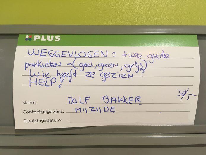Oproep van Dolf Bakker bij de Plus.