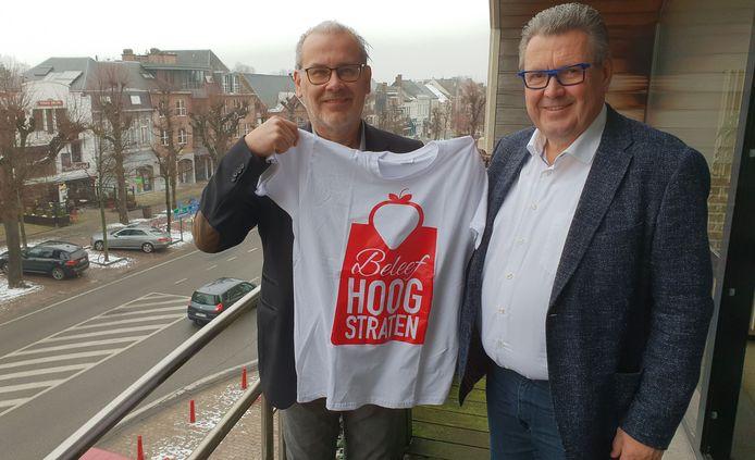 Patrick Melis van Unizo samen met burgemeester Marc Van Aperen.