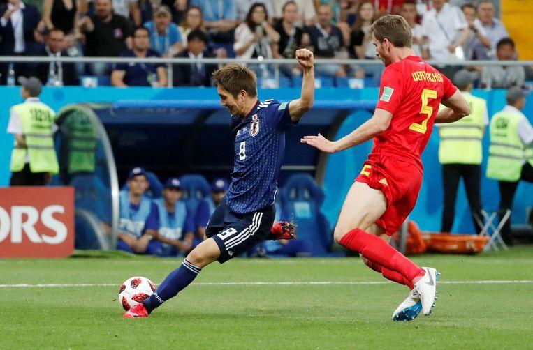 Genki Haraguchi met de 0-1 voor Japan. Beeld REUTERS
