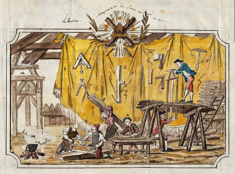 De vrijmetselaren gebruikten geheimzinnige rituelen en symbolen.  Beeld ANP