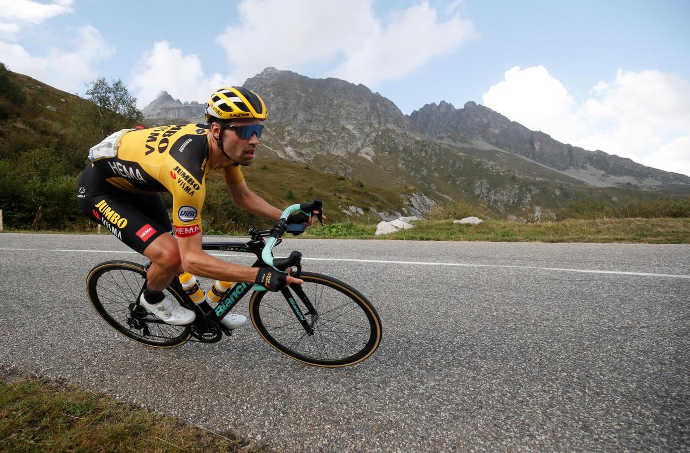 Tom Dumoulin tijdens de afgelopen Tour de France. Hij besloot onlangs voorlopig te stoppen met wielrennen.