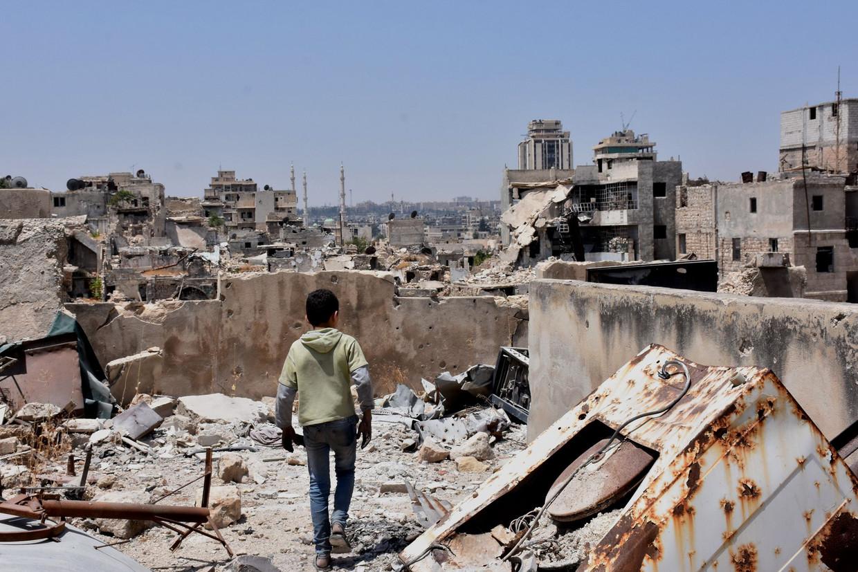 De puinhopen van de Syrische stad Aleppo in 2017.