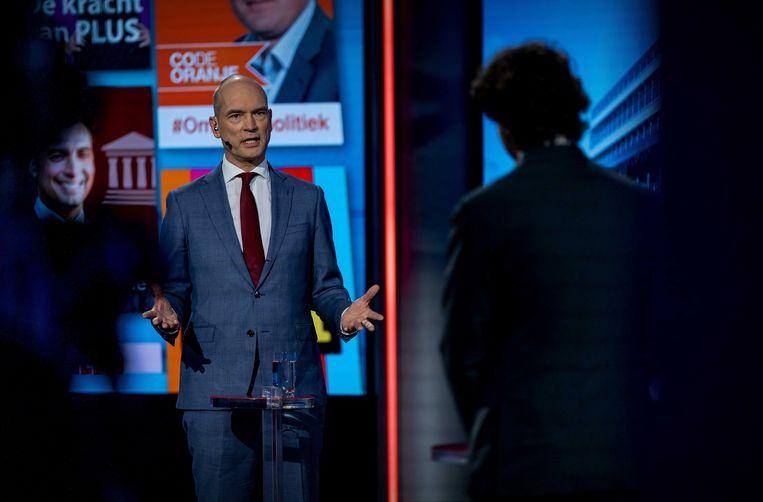Gert-Jan Segers (ChristenUnie) en Jesse Klaver (GroenLinks) tijdens een verkiezingsdebat van de NOS. Beeld ANP