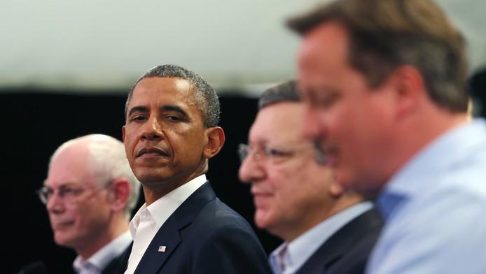 Herman Van Rompuy, Barack Obama, José Manuel Barroso et David Cameron lors du sommet du G8 (juin 2013)