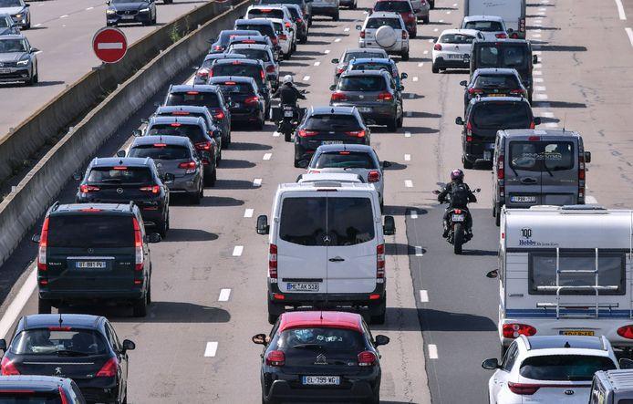 Druk vakantieverkeer op de Europese snelwegen.
