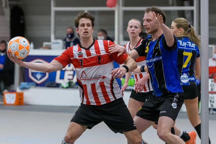 Daan Preuninger zaterdag in het met 18-15 gewonnen play-offsduel met KZ.