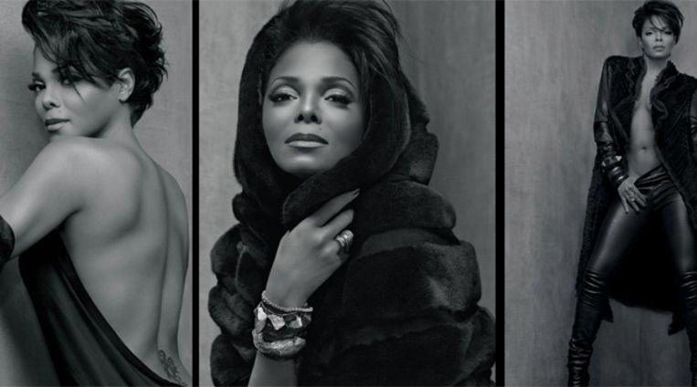 De rijkelijk van dierenbont voorziene creaties van Janet Jackson. Beeld