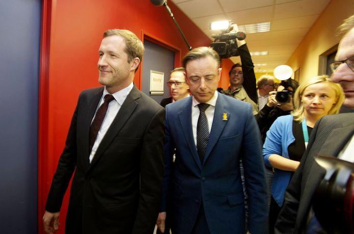 Archiefbeeld van Magnette en De Wever voor een verkiezingsdebat in 2014.