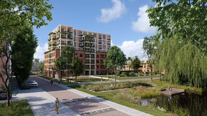 Een artist impression van het toekomstige Wibautplein in Schiedam.