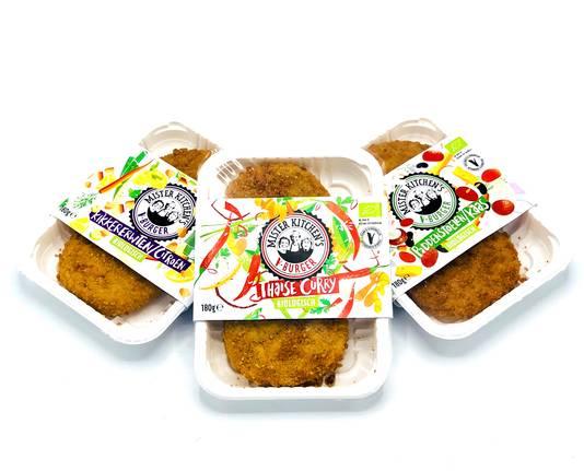 Drie van de nieuwe vegetarische producten van AH.