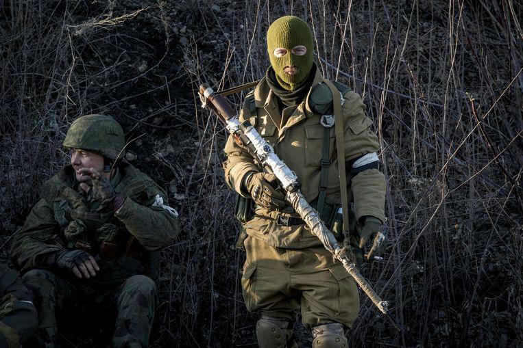 Door Rusland gesteunde separatisten in de buurt van Debaltseve. Beeld ap