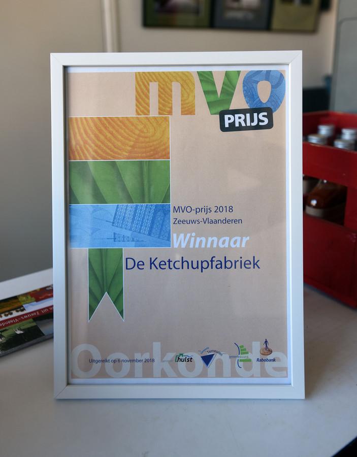 De Ketchupfabriek won in 2018 de eerste editie van de MVOprijs