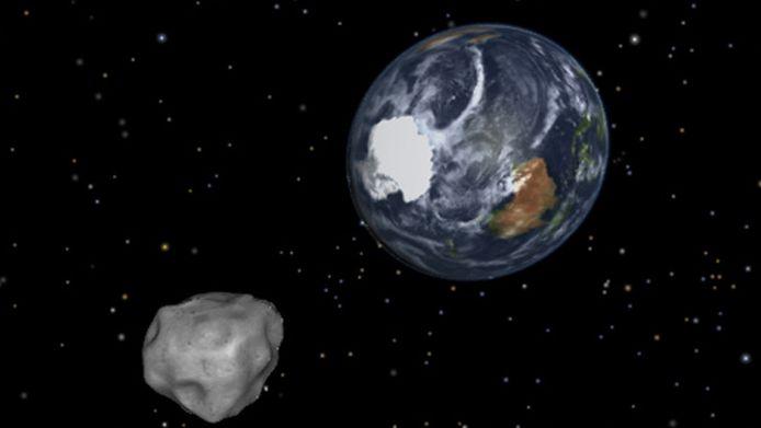 Een impressie van een asteroïde die de aarde nadert (archiefbeeld).