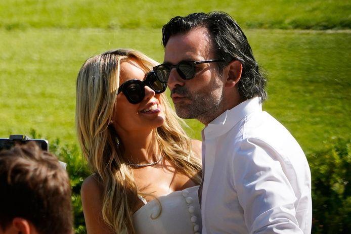 Sylvie en haar verloofde Niclas Castello tijdens de repetitie in Florence vrijdag.