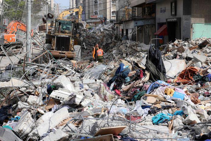 Een verwoest gebouw in Gaza-stad.