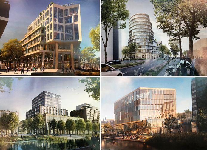 De vier ontwerpen die nog in de race zijn voor het Huis van Stad en Regio in Dordrecht.