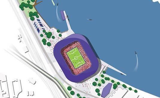 De plek waar het stadion aan de Nieuwe Maas terecht moet komen. Nu is hier de Gamma nog te vinden.
