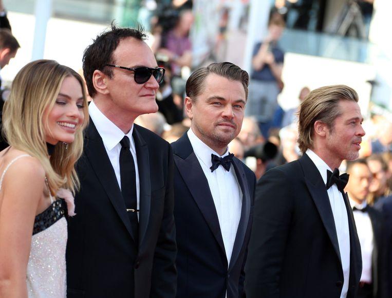 Margot Robbie, Quentin Tarantino, Leonardo DiCaprio en Brad Pitt. Beeld Photo News