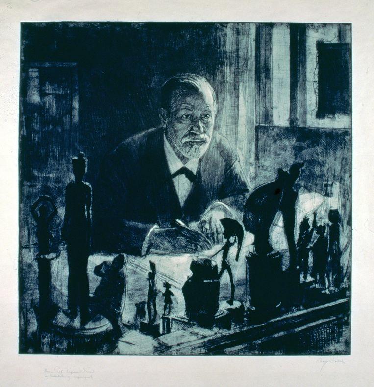 Sigmund Freud op een ets van Max Pollak.  Beeld IMAGEGLOBE